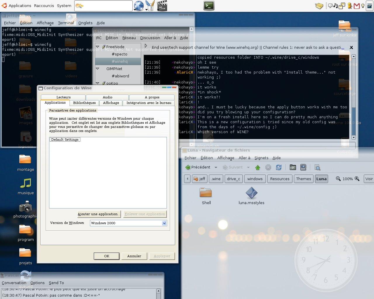 WINE supporte les thèmes de Windows XP et c'est écrit nulle