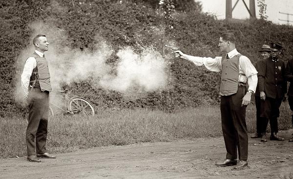 Testing a bulletproof vest, 1923 - cropped